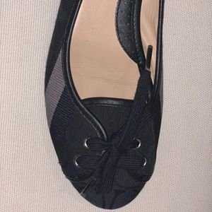 Coach Shoes - Coach Black and Silver Flats